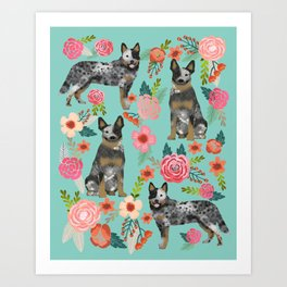 Australian Cattle Dog florals dog breed customized pet portrait by pet friendly Art Print