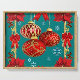TEAL COLOR RED CHRISTMAS  ORNAMENTS &  POINSETTIAS FLOWER Serving Tray