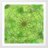 chakra Art Prints featuring HEART CHAKRA  by NioviSakali