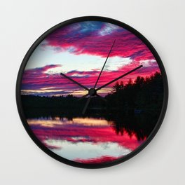 Purple skies and sunset over the Scituate Reservoir, Scituate, Rhode Island Wall Clock