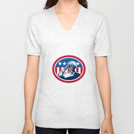 African American Soldier Salute Flag Retro Unisex V-Neck