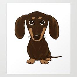 Chocolate Dachshund | Cute Cartoon Wiener Dog Art Print
