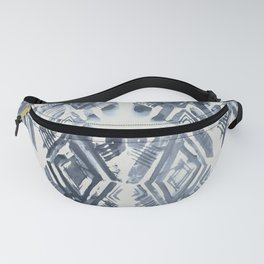 Simply Ikat Ink in Indigo Blue on Lunar Gray Fanny Pack