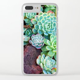 Green Succulents Clear iPhone Case