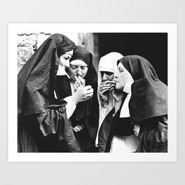 Smoking Nuns Art Print