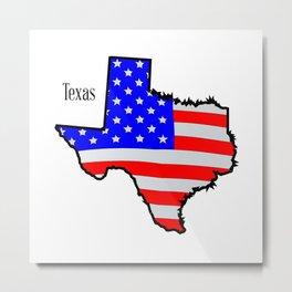 Texas Map and Flag Metal Print