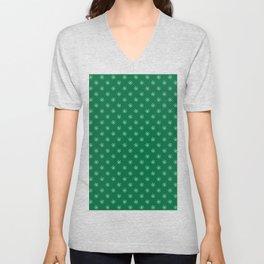 White on Cadmium Green Snowflakes Unisex V-Neck