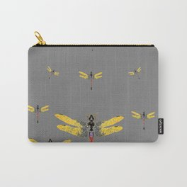 GOLDEN-RED DRAGONFLIES ON GREY Carry-All Pouch