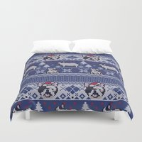 frenchie Duvet Covers featuring Christmas Frenchie by Huebucket