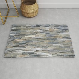Gray Slate Stone Brick Texture Faux Wall Rug