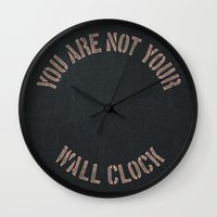 tyler durden Wall Clocks featuring IN TYLER WE TRUST by DANIEL COULMANN