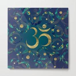 Geometric Om Symbol Gold and Marble Metal Print
