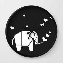 Origami Elephant - Black Wall Clock