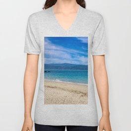 Beach At Scorching Bay Unisex V-Neck