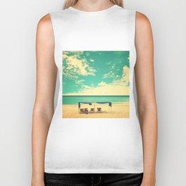 Paradise Beach and Retro Blue Sky  Biker Tank