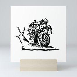 Mushroom Snail Linocut Mini Art Print