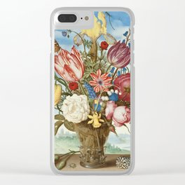 Bouquet of Flowers on a Ledge by Bosschaert Clear iPhone Case