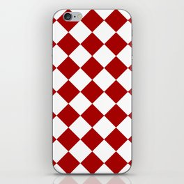 Red and white square pattern iPhone Skin