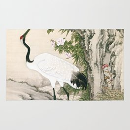 Crane and Chinese Roses Rug