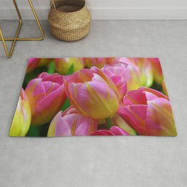 Pink and Yellow Tulips Rug