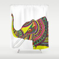 allison argent Shower Curtains featuring Allison Elephant by Laura Maxwell