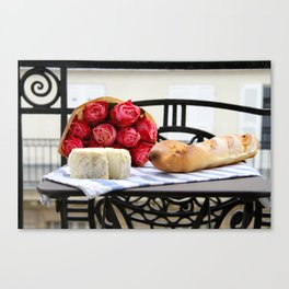 French Baguette and Cheese Canvas Print