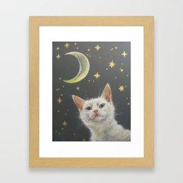 Night Cat and Moon Cute White CAT illustration Pet portrait Bedroom Nursery decor Framed Art Print