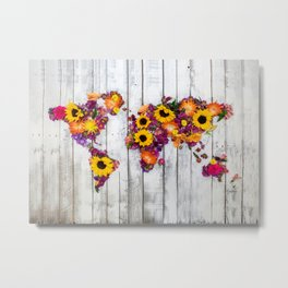 French Floral Bouquet on Rustic Upcycled Palette Wood World Map Art Metal Print