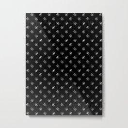 White on Black Snowflakes Metal Print