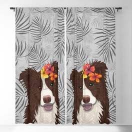 Tropical Brown Border Collie Girl Blackout Curtain