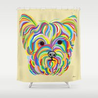 yorkie Shower Curtains featuring Yorkshire Terrier - YORKIE! by EloiseArt
