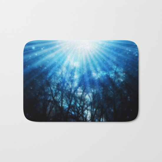 There Is Hope In the Light : Black Trees Blue Space Bath Mat