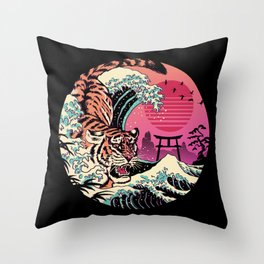 Rad Tiger Wave Throw Pillow