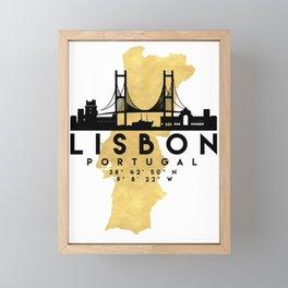 LISBON PORTUGAL SILHOUETTE SKYLINE MAP ART Framed Mini Art Print