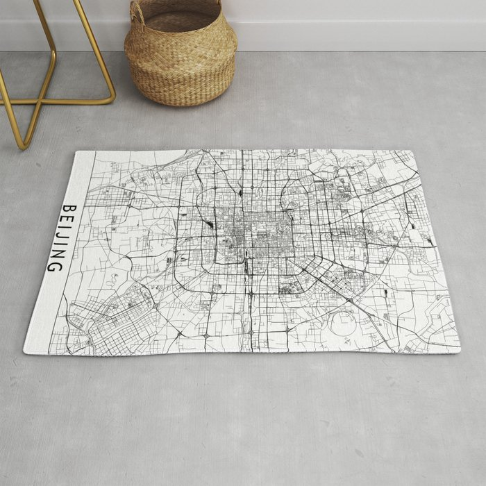 Beijing White Map Rug