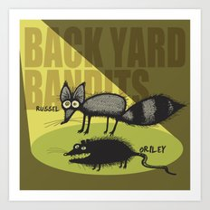 Back Yard Bandits  Art Print