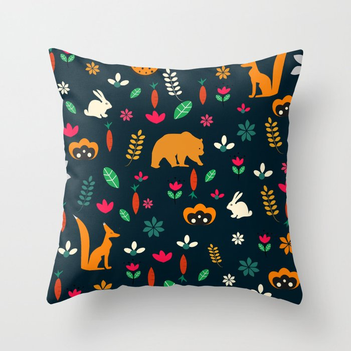 Cute Throw Pillow Society6 : Cute little animals among flowers Throw Pillow by cocodes Society6