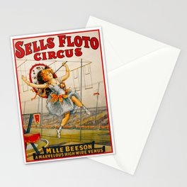 Vintage Sells Floto Circus Ad Stationery Cards