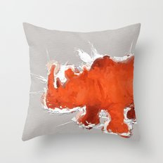 Rhino Orange Throw Pillow