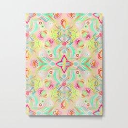 Soft Neon Pastel Boho Pattern Metal Print