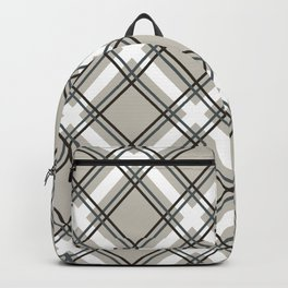 Black, Grey and White Criss-Cross Plaid Pattern Backpack