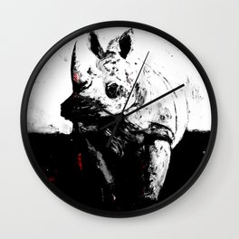Cerato Gray in Black and White with Red Pop Wall Clock