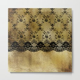 Black floral elegant lace on gold metal background Metal Print