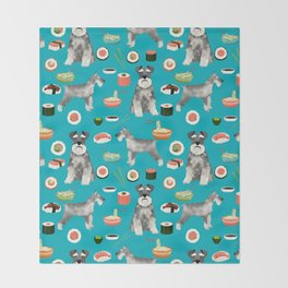 schnauzer sushi dog breed pet pattern dog mom Throw Blanket