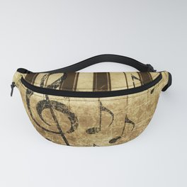 Retro musical illustration with music notes and piano Fanny Pack