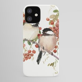 Chickadee Bird Vintage Bird Artwork, two birds, chickadees woodland design iPhone Case