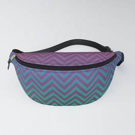 Red, Purple and Moss Green Gradient Vintage Chevron Fanny Pack