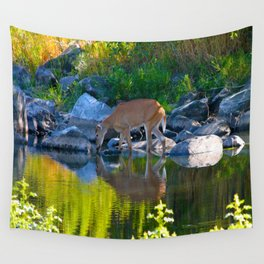 Deer Reflections Wall Tapestry