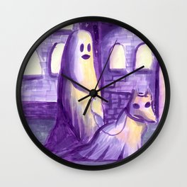 ghost and dog horror painting Wall Clock