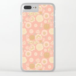Blush pink spring meadow wild flowers with gold glitter blooms Clear iPhone Case